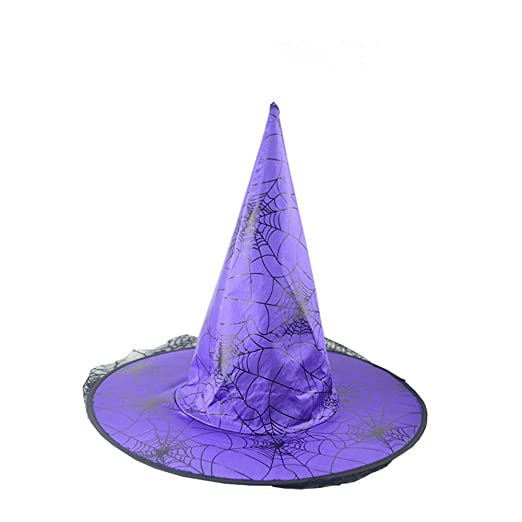 09e8b41cdf1 Amazon.com  DKmagic Witch Hats with Lace Trim for Halloween Costume  Accessory Party Decorations Headwear (Purple)  Clothing