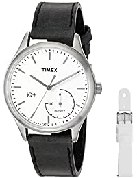 Timex Women's TWG013700 IQ+ Move Activity Tracker Black Leather Strap Watch Set With Extra White Silicone Strap