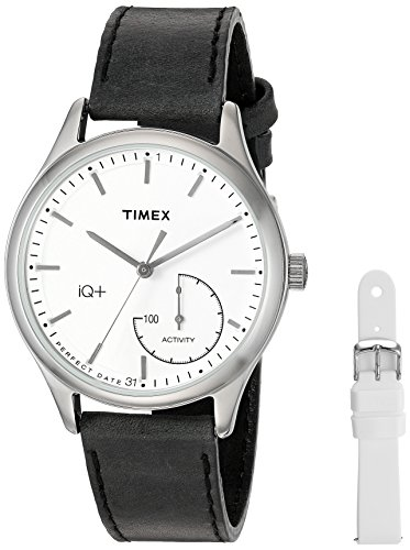 Timex Women's TWG013700 IQ+ Move Activity Tracker Black Leather Strap Smart Watch Set With Extra White Silicone - Dial Calendar Perpetual White Strap