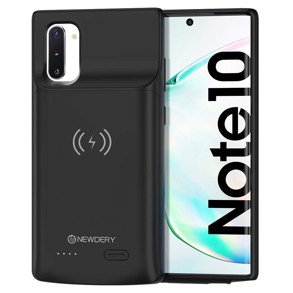 NEWDERY Galaxy Note 10 Battery Case, 5200mAh Wireless Charging Case Rechargeable Extended Charger Case with Full Protection Portable Power Bank Backup Charger Case for Samsung Galaxy Note 10 by NEWDERY
