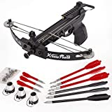 XtremepowerUS 140fps Archery Equipment Self-Cocking Pistol Crossbow Pistol Type Hunting Bow Fishing Crossbow w/Arrows Packages