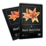 Two Pack Black Sketch Pad : 2 Book Set of Crisp