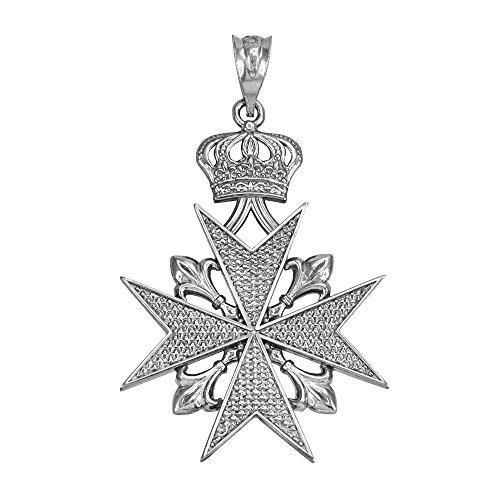 Russian Jewelry Sterling Silver Fleur-De-Lis Imperial Crown Maltese Cross Pendant