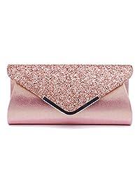 Lamdoo Women Glitter Shiny Powder Shoulder Crossbody Wedding Evening Party Clutch Handbag Purse Pink