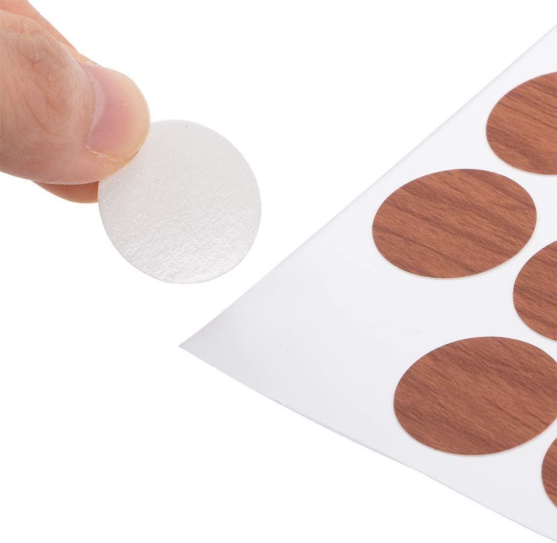 uxcell Self-Adhesive Screw Hole Stickers,1-Table Self-Adhesive Screw Covers Caps Dustproof Sticker 21mm 54 in 1 Cherry