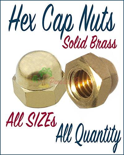 Paradise Harbor 3/8-24 Hex Cap Nuts Brass Hex Cup Nut Brass Hex Cups Nuts Solid Brass Acorn Hex Cap Nuts Grade 10 Pcs