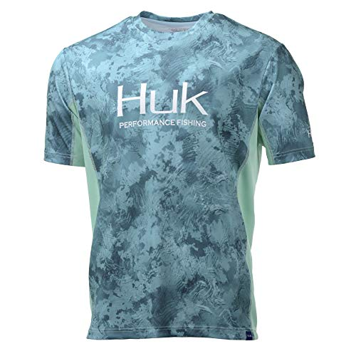 Huk Men's Icon X Camo Short Sleeve Shirt, Shallows, Large