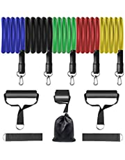 Exercise Resistance Bands Set - 5 Tubes, 2 Hand Grips, Door Anchor, Ankle Straps, Yoga, Physio Home Gym Equipment