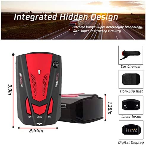 [2021 New Version] Radar-Detector-for-Cars,Laser Radar Detector Voice Prompt Speed,Vehicle Speed Alarm System,LED Display,City/Highway Mode,Auto 360 Degree Detection for Cars(Red) (Red)