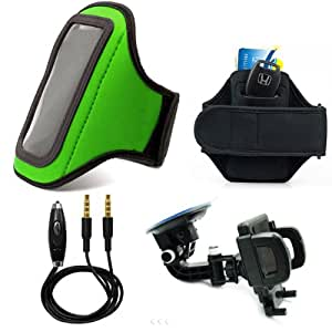 Comfy Neoprene Armband For Sony Xperia L (A) / Sola / Go / J / S / Neo L / SP / T / E Dual + Auxiliary Cable + Windshield Car Mount