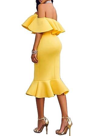 ac69a4170f2 5 ALL Damen Partykleid Elegant Schulterfrei Rüschen Ärmellos Meerjungfrau  Cocktailkleid Bodycon Knielang Minikleid Festliche Kleider Abendkleid   Amazon.de  ...