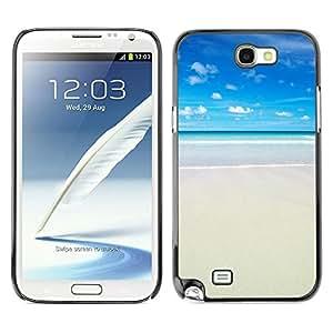 Cubierta de la caja de protección la piel dura para el SAMSUNG GALAXY NOTE 2 / N7100 - sun summer sea beach sand surf blue