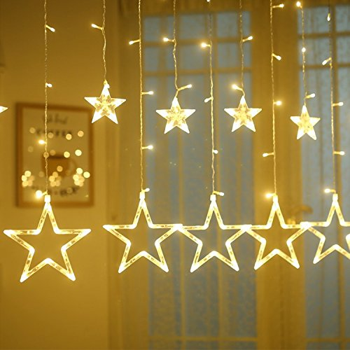[BUDGET & GOOD 12 Star Led String Curtain Lights 8 Modes Linkable 138pcs Warm White Led Lights for Christmas Halloween Indoor and Outdoors] (Halloween Decorations On A Budget)