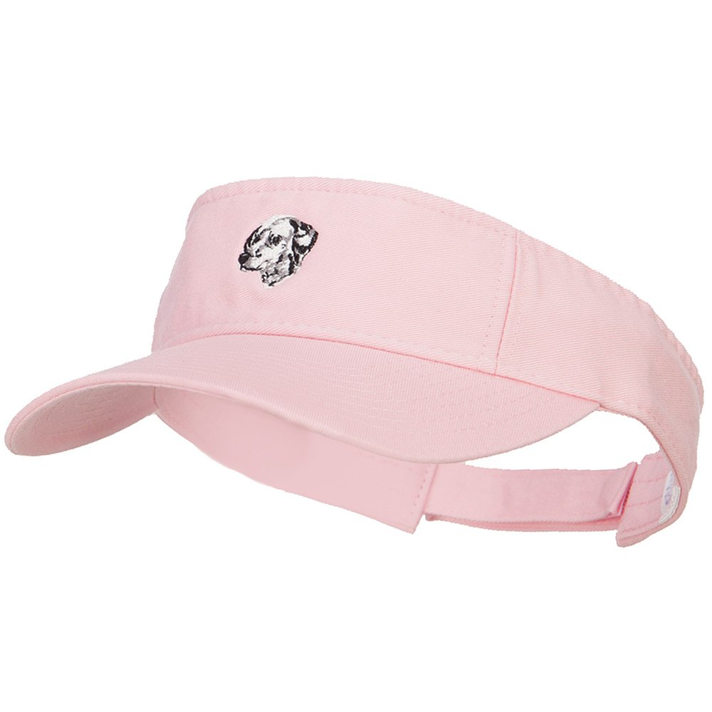 Dalmatian Head Embroidered Pro Style Cotton Washed Visor - Lt Pink OSFM