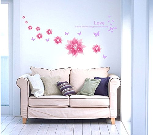 Amaonm Nursery Flowers Butterfly Wall Decals Quotes Wall Stickers Murals Peel Stick Wallpaper for Kids Girls Room Bedroom Living Room Tv Background Nursery Classroom Wall Decorations