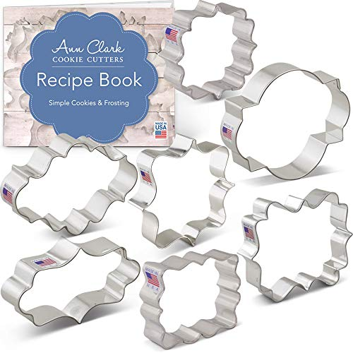 - Plaques and Frame Cookie Cutters Set with Recipe Booklet - 7 piece - - Ann Clark - USA Made Steel