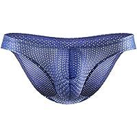 Summer mesh Ice Silk Men Underwear Seamless Transparent Boxer Short Ultra Thin Sheer Breathable Comfortable Briefs - Royal Blue