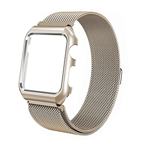 Price comparison product image Apple Watch Band 42mm, LikeItY Milanese Loop Stainless Steel Magnetic Band with Metal Case for Apple Watch Series 1 / 2 - Anti-scratch Soft Rubber Lining Replacement Strap for iWatch - Retro Gold