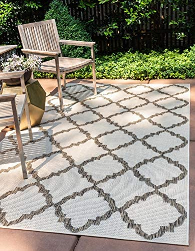 Unique Loom Outdoor Trellis Collection Geometric Moroccan Lattice Transitional Indoor and Outdoor Flatweave Beige/Brown Area Rug 6' 0 x 9' 0