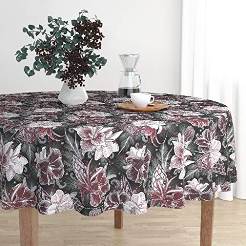 Roostery Round Tablecloth - Floral Botanical Holiday Seasonal Garden Winter by Helenpdesigns - Cotton Sateen Tablecloth 70in