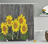 Sunflower Decor Shower Curtain Set by Ambesonne, Helianthus Sunflowers Against Weathered Aged Fence Summer Garden Photo Print, Bathroom Accessories, 75 Inches Long, Brown Yellow Green