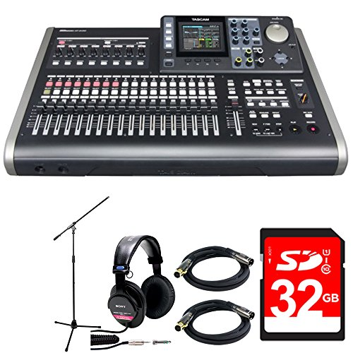Tascam 24-Track Portable Recording Studio w/ 8-Track Simultaneous Capability w/Bundle + 32GB SD Class10 Card + Studio Monitor Headphones+ 2x XLR 10' M-F 16AWG Gold Plated Cable + Mic Stand (24 Track Digital Recorder)