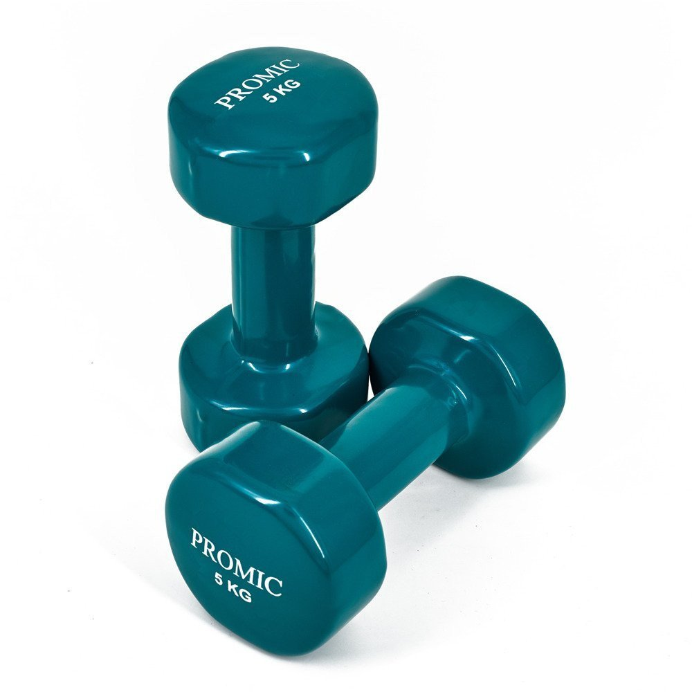 Promic 1Lb a 9,7 kg mano levantamiento de pesos deluxe con revestimiento de vinilo juego de mancuernas entrenamiento aeróbico Fitness, juego de 2, ...