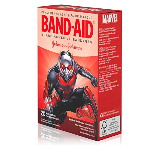 BAND-AID Marvel Avengers Childrens Adhesive Bandages, Assorted Characters & Sizes, Colors May Vary 20 ea