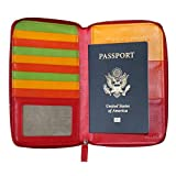 Belarno A235 Leather Zip Passport Holder Red Multicolor
