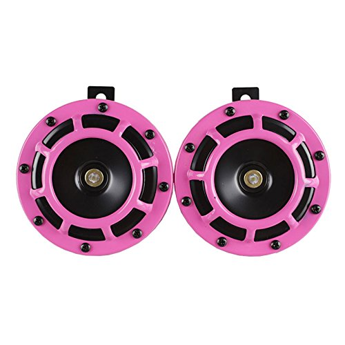 RASTP - 2 PCS 12V Super Loud Grille Mount Compact Electric Blast Tone Horn Kit for Universal Car and Motor RS-BOV014 (Pink) ()