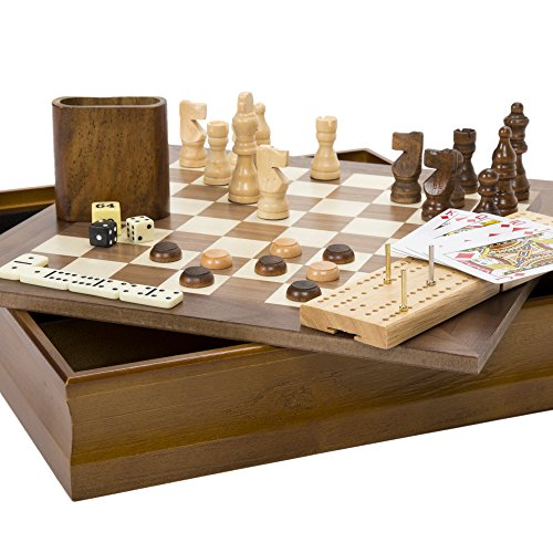 Hey! Play! 7-in-1 Classic Wooden Board Game Set - Old Fashioned Family Game Night Cards, Dice, Chess, Checkers, Backgammon, Dominoes and Cribbage