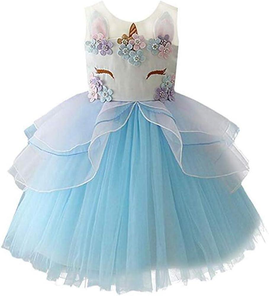 yeesn Vestido de Unicornio de Las Muchachas Vestido de Tul de tutú, Bolas de Princesa Perlas de Fiesta de cumpleaños de Arco Iris