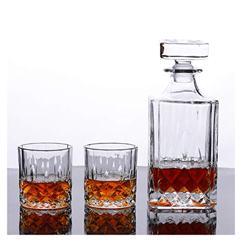 Crystal Whiskey Decanter and Whiskey Glasses Set, 100% Lead-Free Crystal Decanter Set with 2 Whiskey Glasses