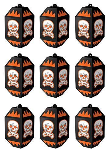 Beistle 00437 Vintage Halloween Skull Paper Lanterns 9 Piece, 7