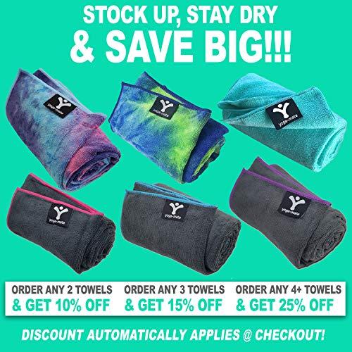 Yoga Mate Soft, Sweat Absorbent, Non-Slip Bikram Yoga Mat Size Towel, Blue & Pink Tie Dye | Blue Trim