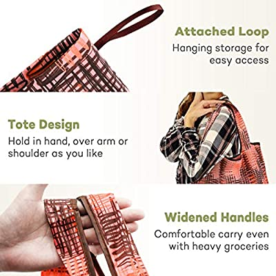 REGER Reusable Shopping Bags Attached Pouch Eco Friendly Light Weight Machine Washable Medium Size 35lbs