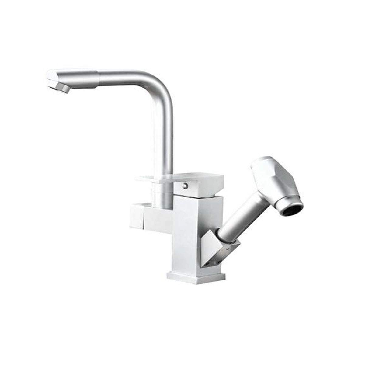 QIANZICAIDIANJIA Faucet, Space Aluminum Pull Kitchen Sink Faucet Sink Hot And Cold Water Basin Rotating Stretch Universal Silver stainless steel faucet (Color : Silver, Size : 292617cm) by QIANZICAIDIANJIA