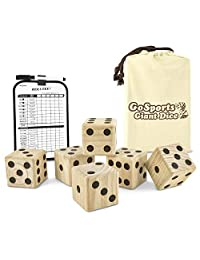 "GoSports Giant Wooden Playing Dice Set with Bonus Rollzee and Farkle Scoreboard - Includes 6 Dice, Dry-Erase Scoreboard and Canvas Carrying Bag (Choose 2.5"" Dice or 3.5"" Dice)"
