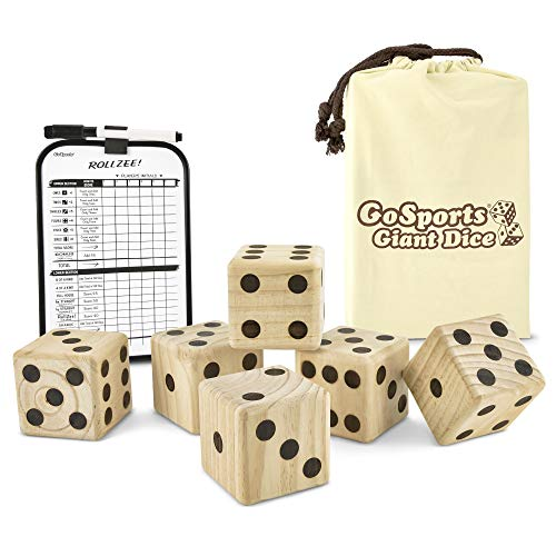 "GoSports Giant 3.5"" Wooden Playing Dice Set with Bonus Rollzee Scoreboard (Includes 6 Dice, Dry-Erase Scoreboard and Canvas Carrying Bag)"