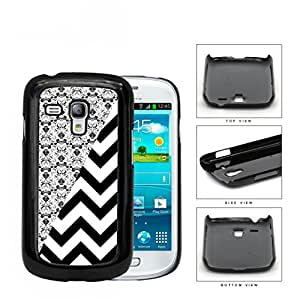 Black & White Floral Damask Pattern with Black/White Chevron Pattern Samsung i8190 Galaxy S3 (MINI) Hard Snap on Plastic Cell Phone Case Cover