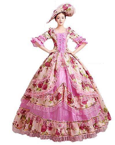 Fancy Victorian Dresses (Zukzi Women's Prom Gothic Victorian Fancy Palace Masquerade Dresses, 1505 Pink 4)
