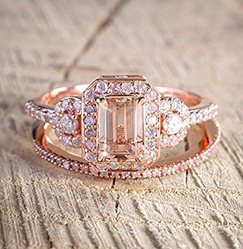Band Morganite Ring - Huge 1.50 Carat emerald cut Morganite and Diamond Wedding Bridal Ring Set On Rose Gold with Engagement Ring and Matching Diamond Wedding Band