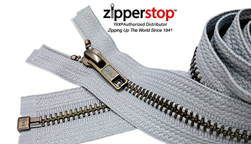 Zipperstop Wholesale YKK- Jacket Zippers YKK #5 Antique Brass- Metal Teeth Separating for Crafter's Special Color Light Grey #119 Made in USA - Custom Length (26 inches)