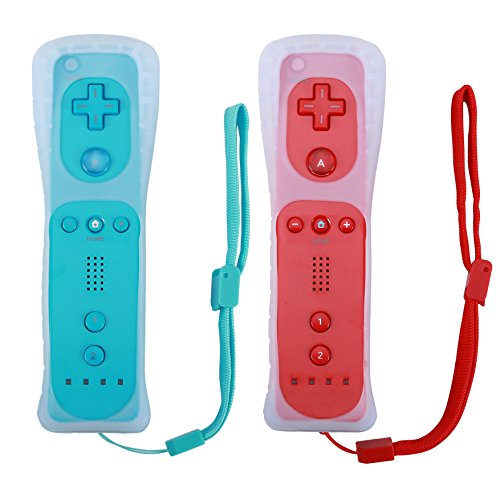 Poulep 2 Packs Gesture Controller with Silicone Case and Wrist Strap for Nintendo wii Wii U Gamepad Console (Red and Blue)