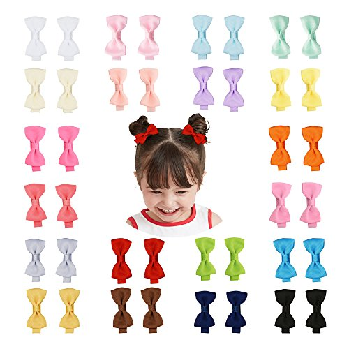 40PCS 2 Inch Tiny Baby Girls Hair Bows Clips Fully Lined for Babies Fine Hair Infants Toddlers Kids