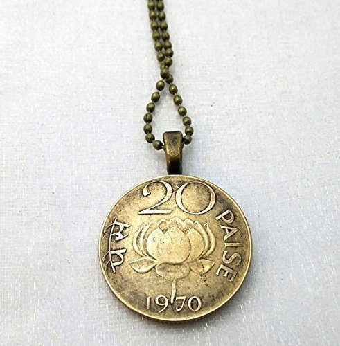 Lotus Necklace. India LOTUS COIN NECKLACE. Vintage 1970 Coin necklace. Coin Jewelry. (Coin Lotus)