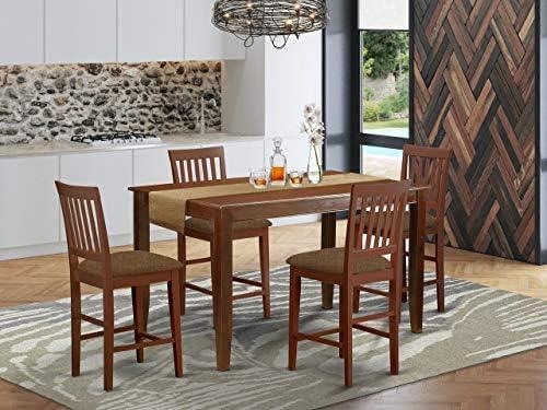 East West Furniture DUVN5H-MAH-C Dining Room Set 5 Pc