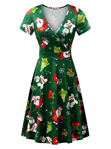 MSBASIC Santa Dress, Short Sleeve Casual Christmas Dress for Women Santa&Snowman L -