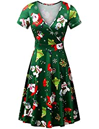 Christmas Dress Womens Short Sleeve Ugly Party Xmas Dress