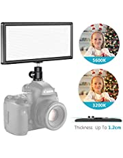 Neewer Super Slim Bi-Color Dimmable LED Video Light with LCD Display - Ultra High Power On Camera LED Panel, 3200K-5600K for Photo Studio Portrait Video Photography(Battery NOT Included)